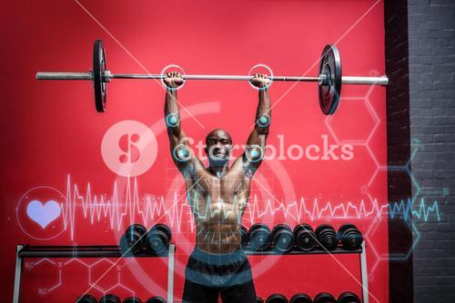Composite image of young bodybuilder doing weightlifting
