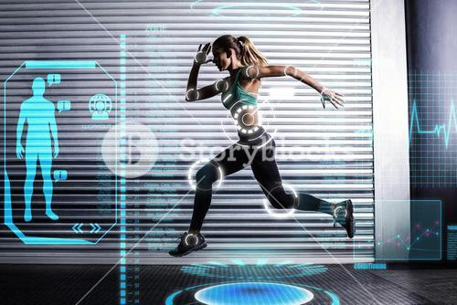 Composite image of muscular woman running in exercise room