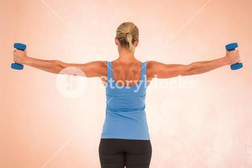 Composite image of muscular woman exercising with dumbbells
