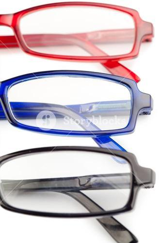 Spectacles with blue frames black frames and red frames