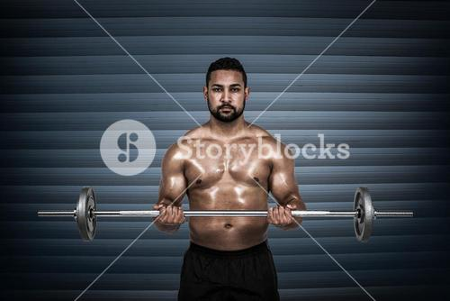 Composite image of muscular man lifting heavy barbell