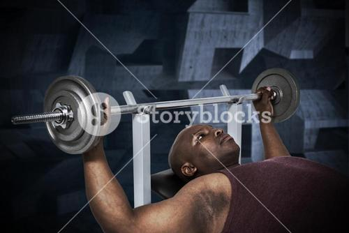 Composite image of fit man exercising with barbell