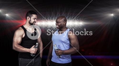 Composite image of strong friends taking a drink