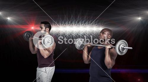 Composite image of two muscular men lifting barbell