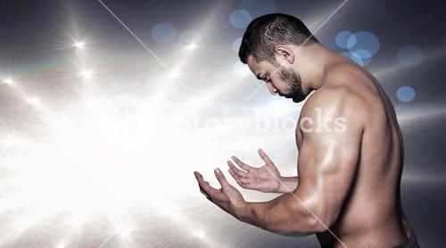 Composite image of portrait of a serious bodybuilder man