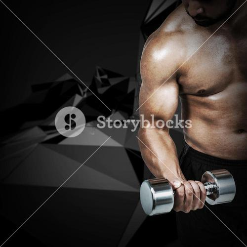 Composite image of muscular man lifting heavy dumbbell
