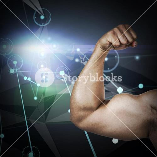 Composite image of muscular man flexing for camera