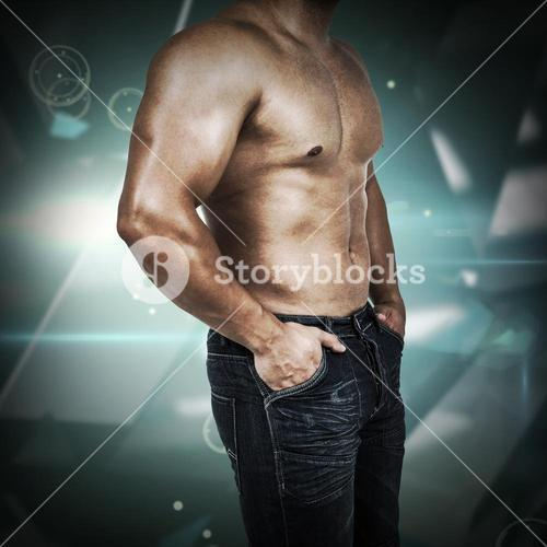 Composite image of muscular man wearing blue jeans