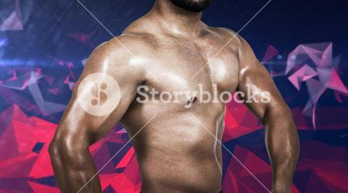 Composite image of muscular man flexing his biceps