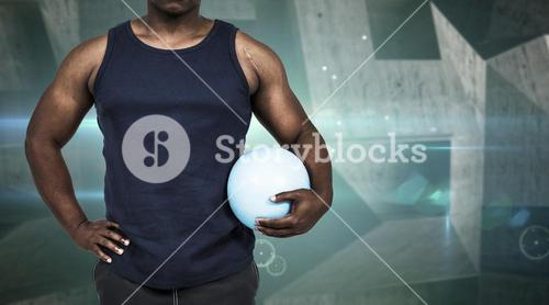 Composite image of muscular man working out with weight