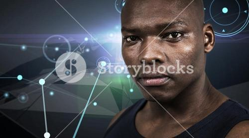 Composite image of fit man looking at camera