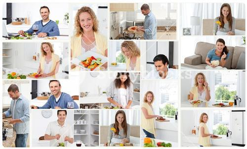 Montage of young adults preparing and eating meals