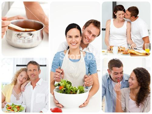 Collage of young couples cooking