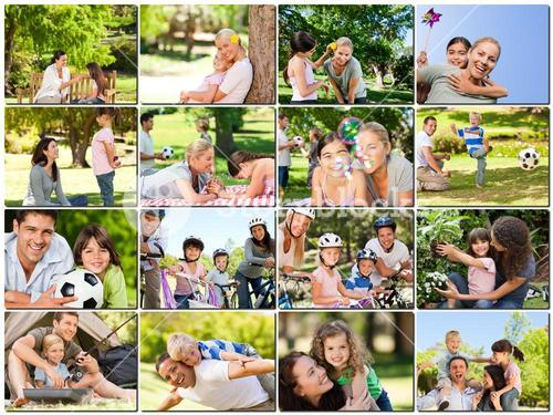 Montage of young adults having fun outdoors with their children