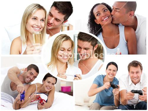 Montage of happy young couples