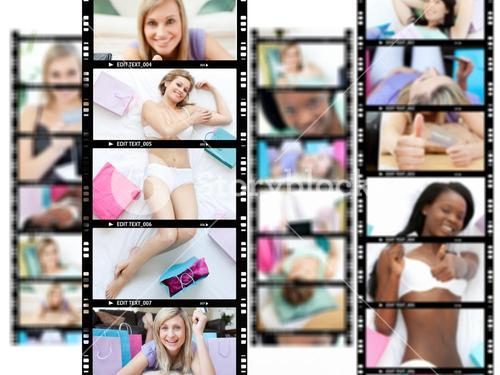 Montage of attractive women lying on their beds