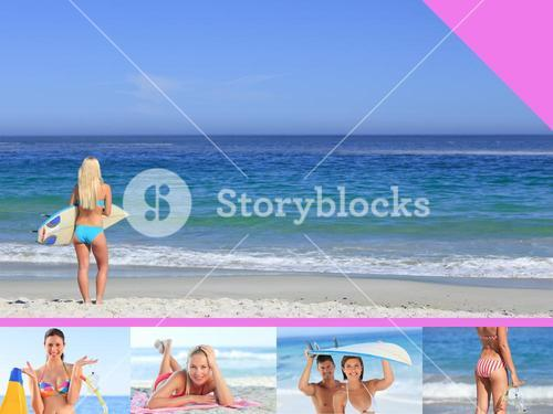 Montage of attractive young women in swimwear on a beach