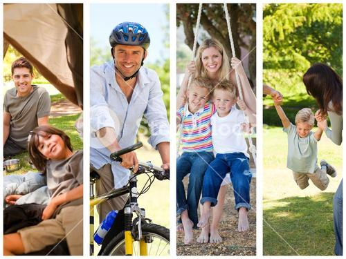 Montage of families relaxing outdoors