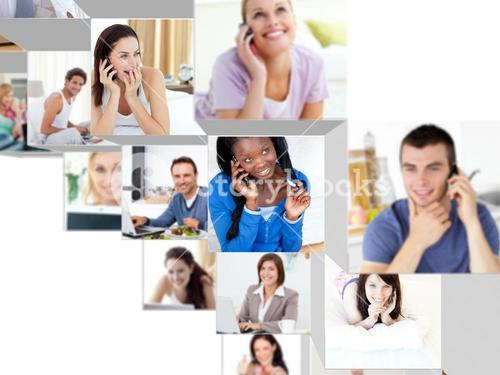Montage of happy relaxed people having phone conversations
