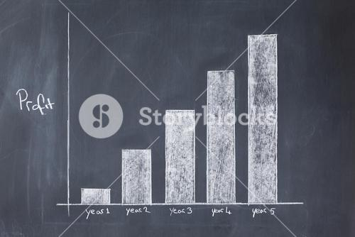 Bar chart drawn showing increasing profit against time
