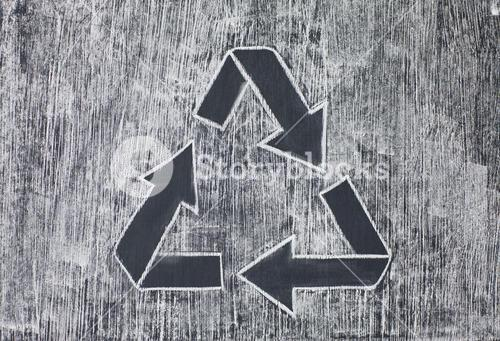 Recycle symbol on a white chalky