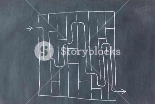Labyrinth on a blackboard