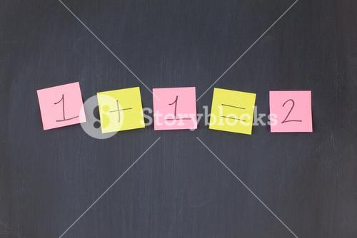 Pink and yellow stickon notes on a blackboard