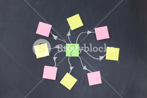 Blank stickon notes forming a design on a blackboard