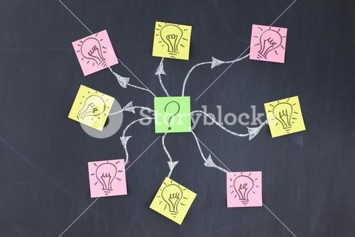 Stickon notes linked by lines forming a design on a blackboard