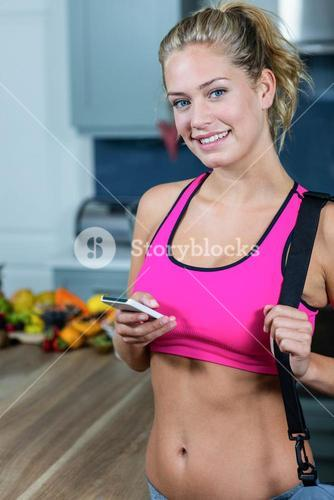 Fit girl texting