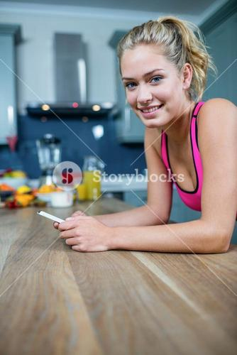 Fit girl sending text messages