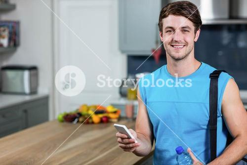 Healthy man sending text messages