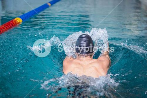 Rear view of man swimming