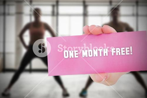 One month free! against people background
