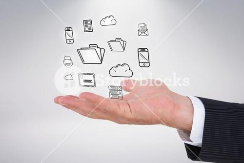 Composite image of businessman with wrist watch and hands out