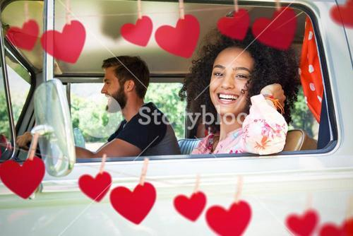 Composite image of hipster couple driving in camper van