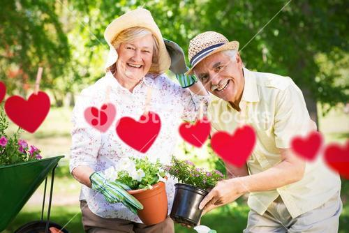 Composite image of happy senior couple gardening