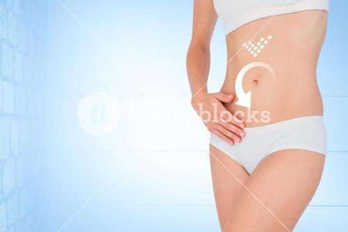 Composite image of woman touching her belly