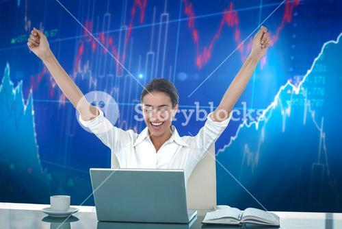 Composite image of businesswoman celebrating a great success