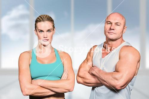 Composite image of portrait of athlete man and woman with arms crossed
