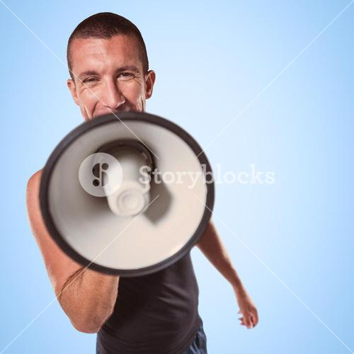Composite image of male trainer yelling through megaphone