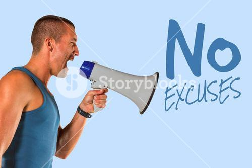 Composite image of angry male trainer yelling through megaphone