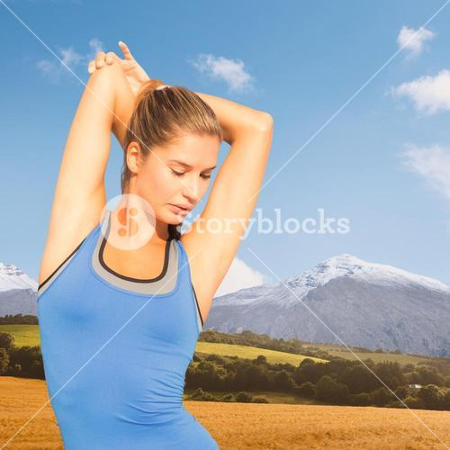 Composite image of pretty fit woman