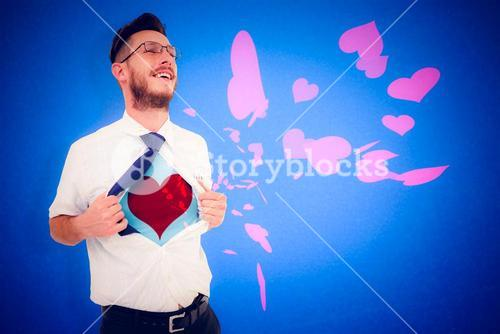 Composite image of geeky hipster opening shirt superhero style