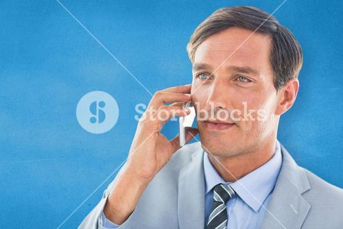 Composite image of business man having phone call