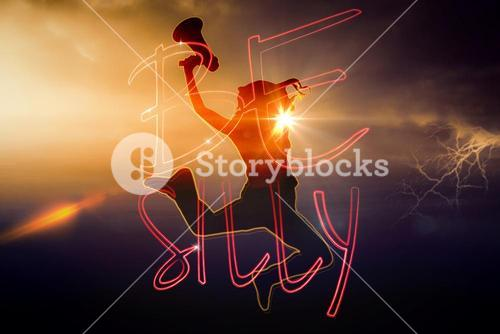 Composite image of silhouette of jumping woman holding megaphone
