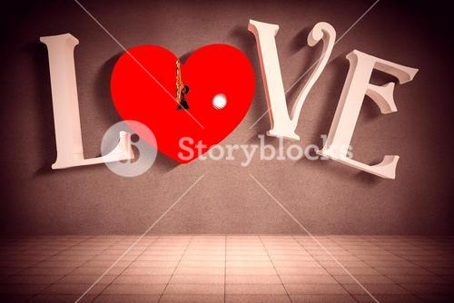 Composite image of love with lock and key
