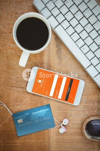 Composite image of digitally generated image of world credit card