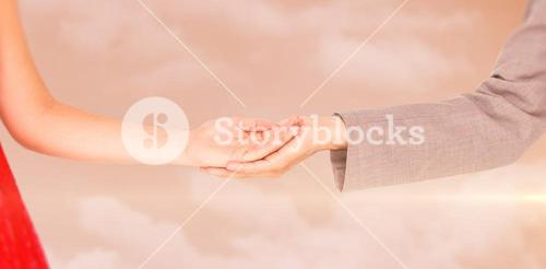 Composite image of hipster couple standing hand in hand