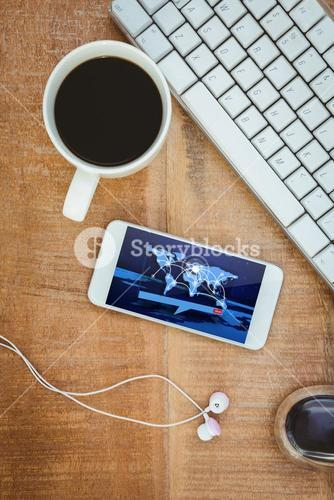Composite image of coffee and white smartphone with headphones